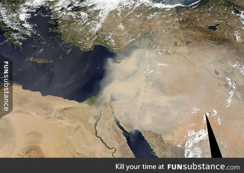 Huge Dust Storm in the Middle East Visible from Space