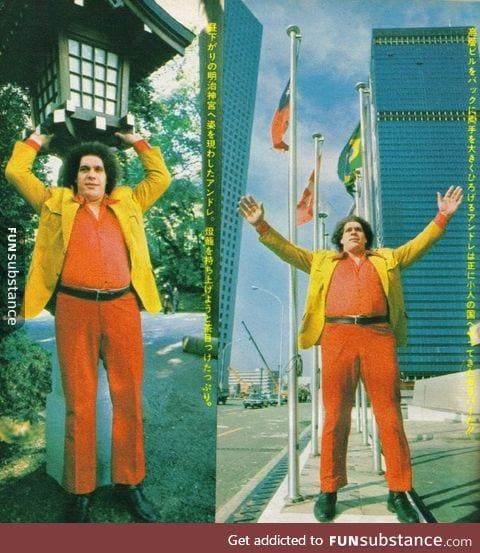 Andre the Giant visiting Japan in 1980
