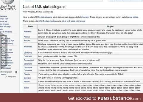 Someone is editing all the US state slogans on wikipedia and it's amazing