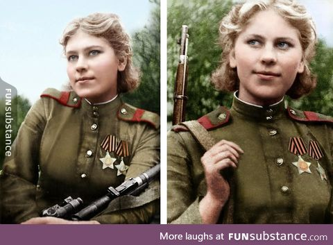 19 year old Soviet sniper with 54 confirmed kills in WW2