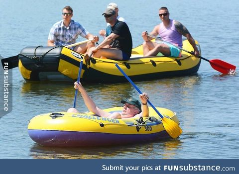 President of the Czech republic on his luxury yacht with his bodyguards on a lake