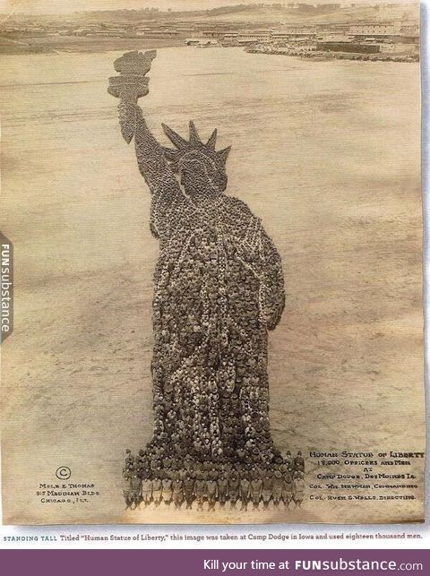 Human Statue of Liberty made with 18,000 men in 1918