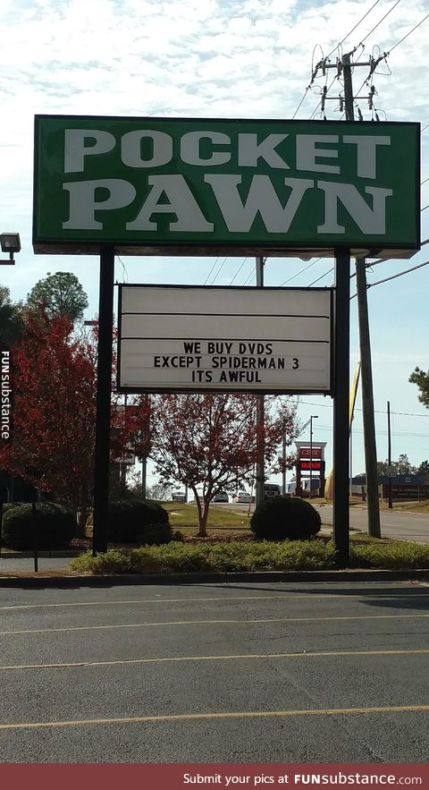 Sign at my local pawnshop