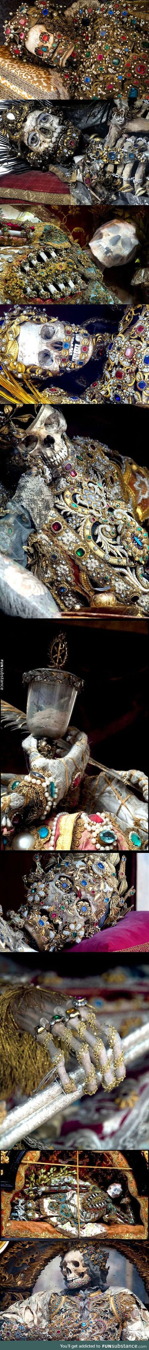 Skeletons unearthed from the catacombs of rome