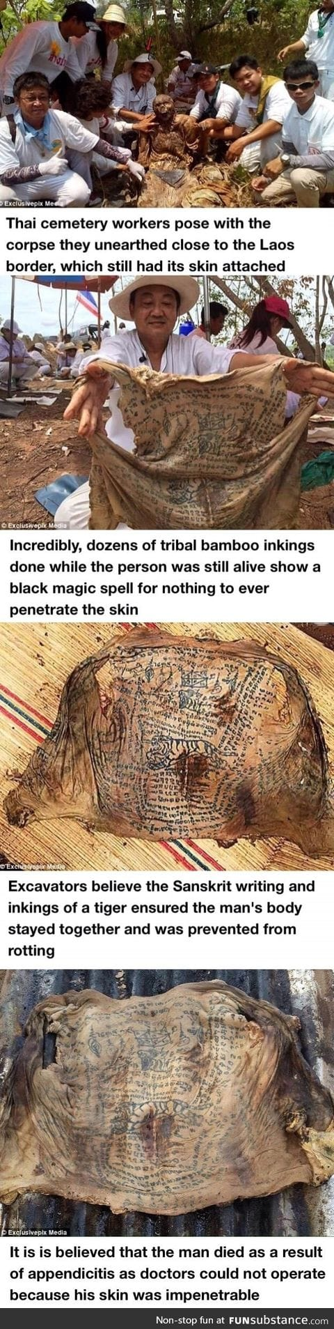 Corpse's withered skin remains intact - because of black magic TATTOO