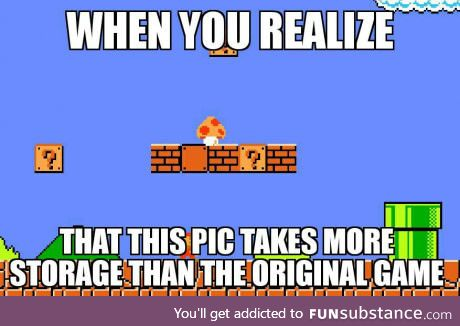 The Super Mario Bros game was only 31KB
