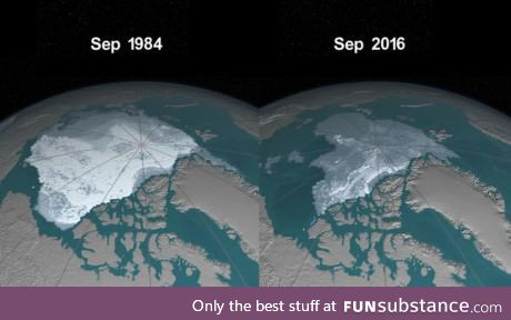 This is how the Artic had changed throughout 32 years: