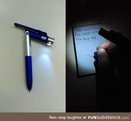 This pen has a flashlight on a hinge so you can write in the dark