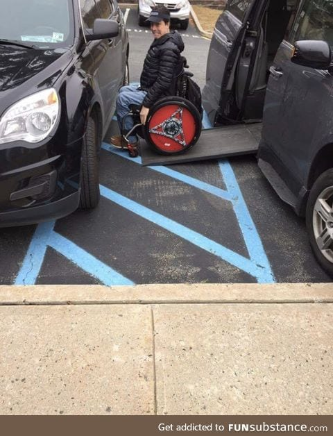 PSA: Please don't park like an ass in the Handicap area. It has extra room for a reason