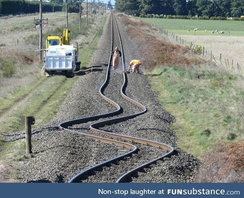 Bent rail tracks after a New Zealand earthquake