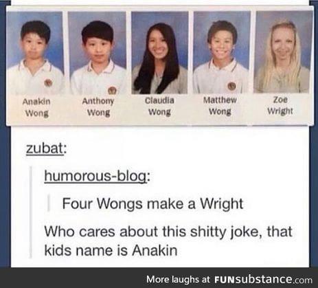Anakin, we go for Star Wars over jokes.