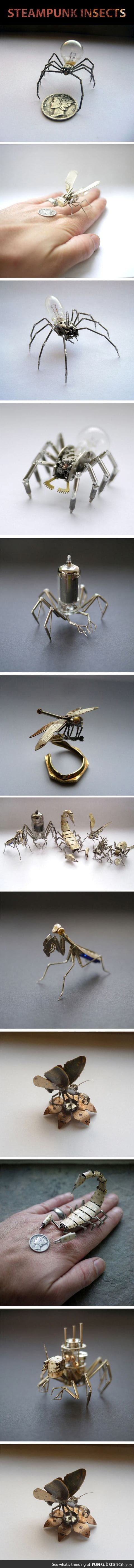 Tiny insects made out of watch parts