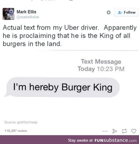 He is the leader of all the burgers