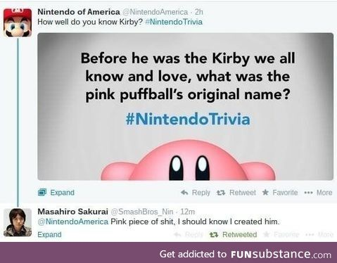 my family should call me Kirby because I'm a pink piece of shit