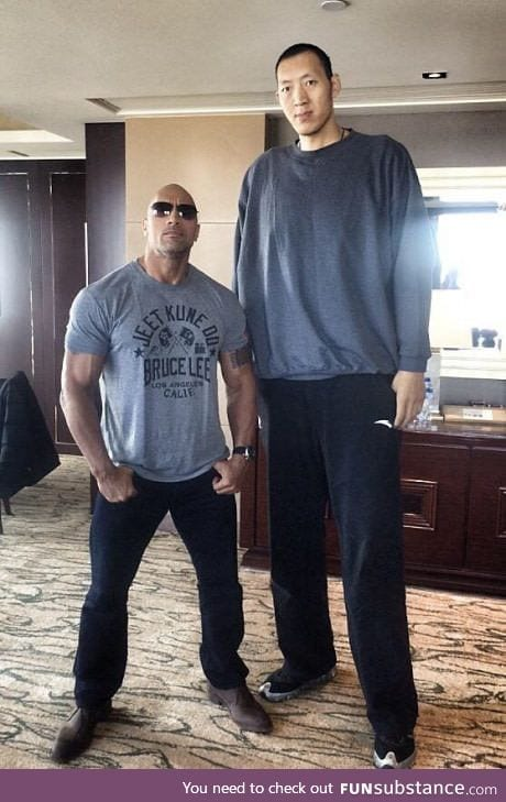 The rock (1.96 m) looks pretty small compared with basketball player Sun Ming Ming (2.36m)