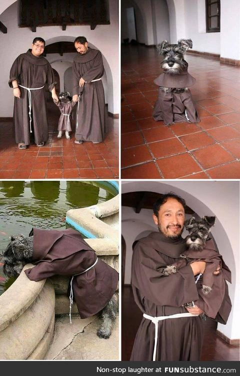 Brazilian monks adopt stray dog and make him one of their own