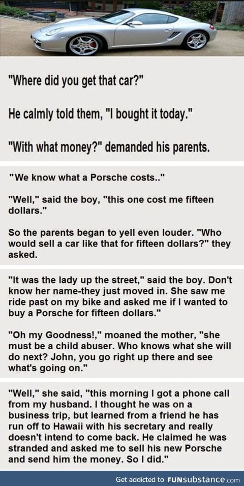 A boy comes home with a car