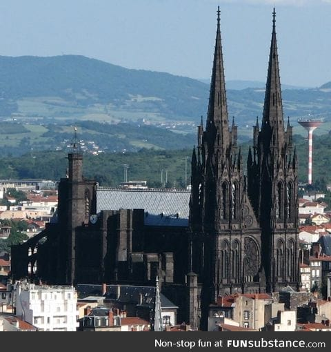 Clermont-Ferrand Cathedral in France - It is built entirely of black lava stone