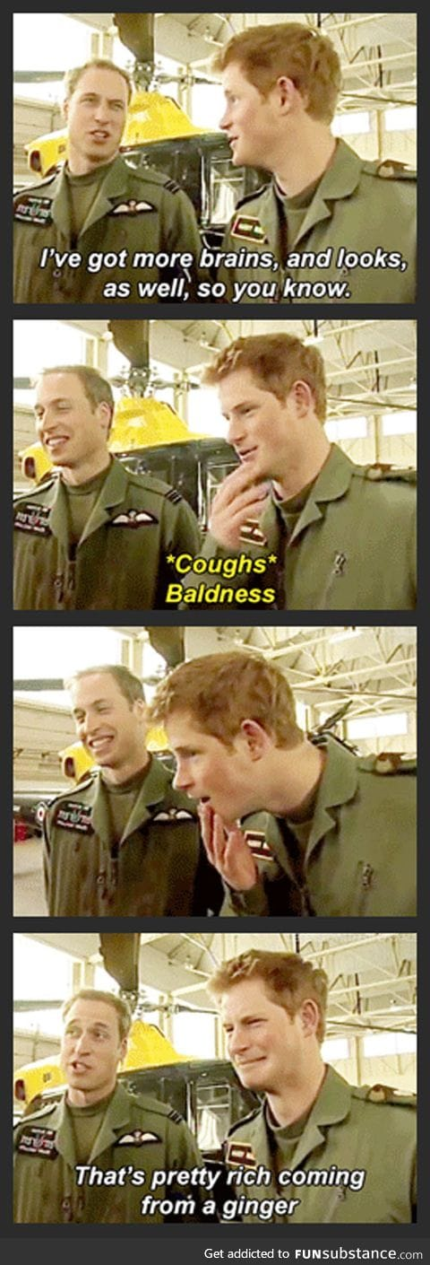 Prince William burns Harry