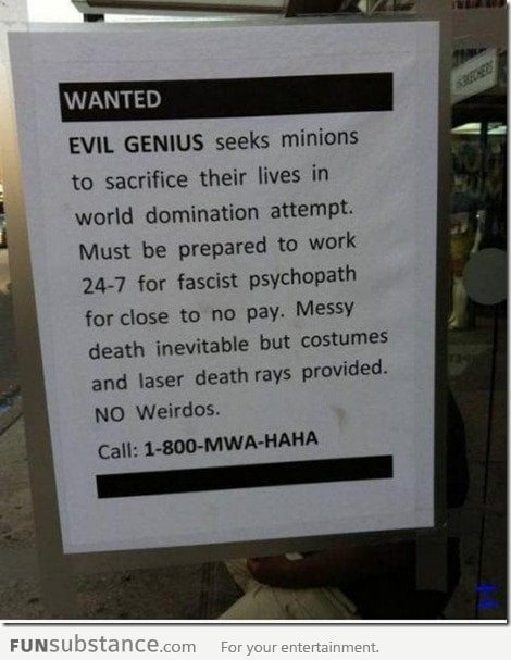 Wanted : Evil Genius