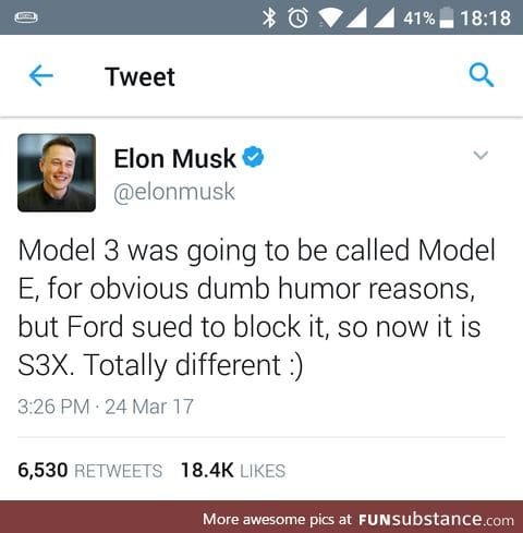 Musk is nailing it with naming his companys products