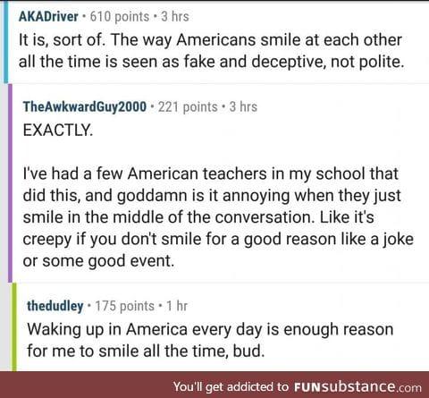 Fellow patriot on smiling