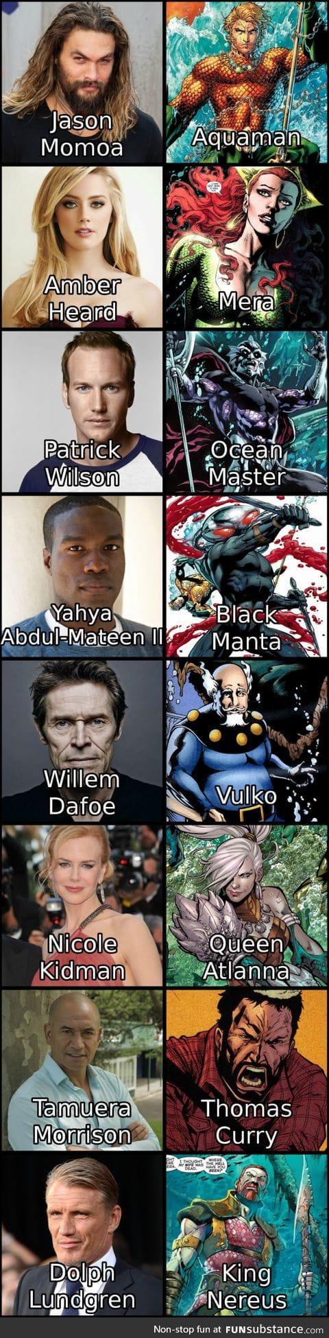 """The cast of """"Aquaman"""" so far"""