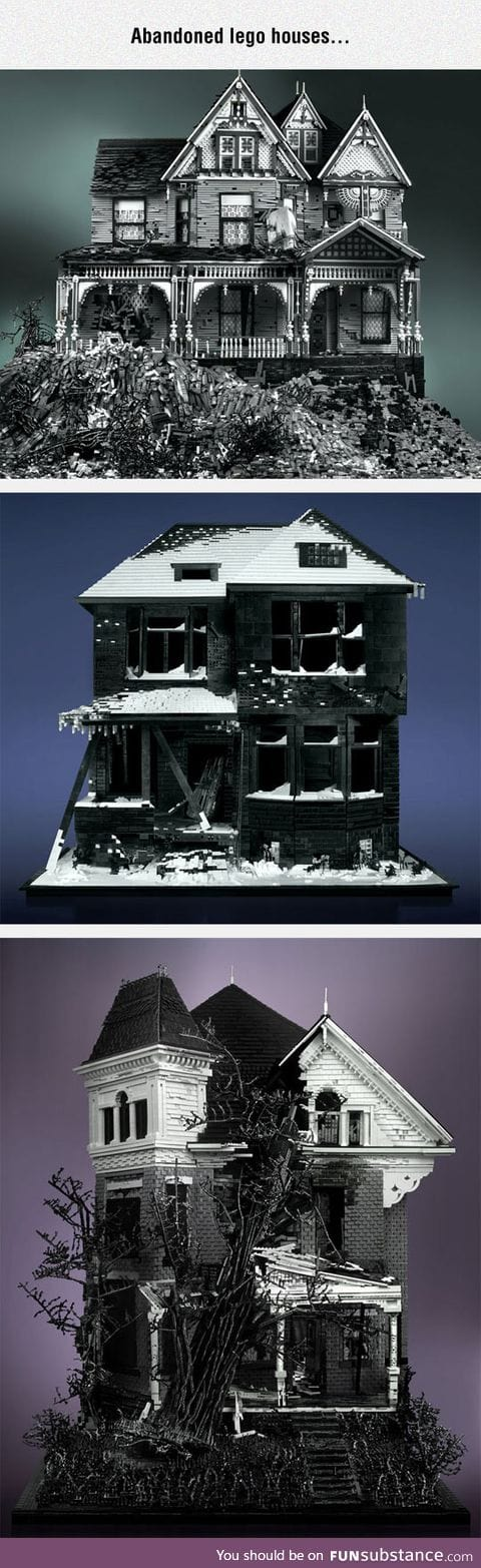 Scary houses made using lego