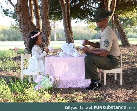 Marine dad surprised with tea party photo shoot