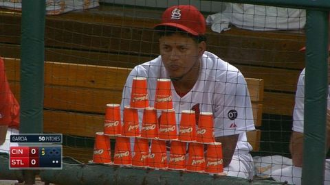 MLB Player very protective of his cup stack