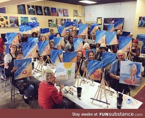 Senior center painting with a twist. Bernard went rogue