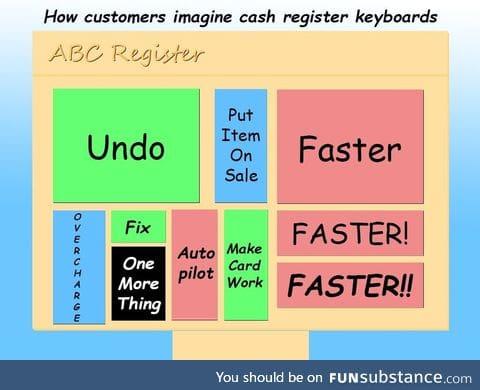 How customers imagine cash register keyboards