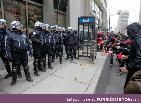 Protesters taunting police with donuts