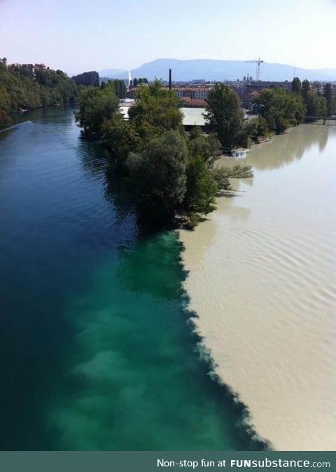 Two rivers meet in Switzerland