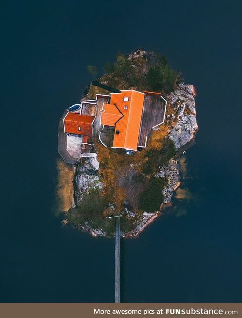 Aerial of a private island, Norway style