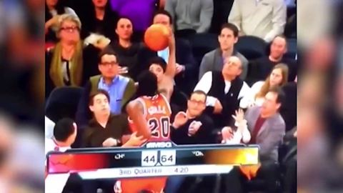 "Knick fan heckles NBA player. NBA player ""accidentally"" falls into him"