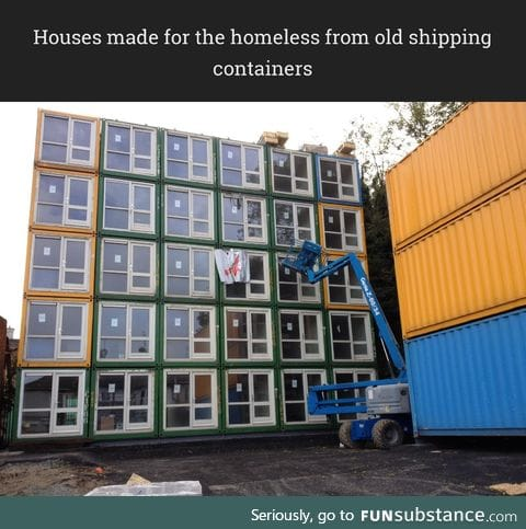 Houses made for the homeless from old shipping containers