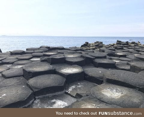 The shape these stones were formed at The Giant's Causeway in Northern Ireland