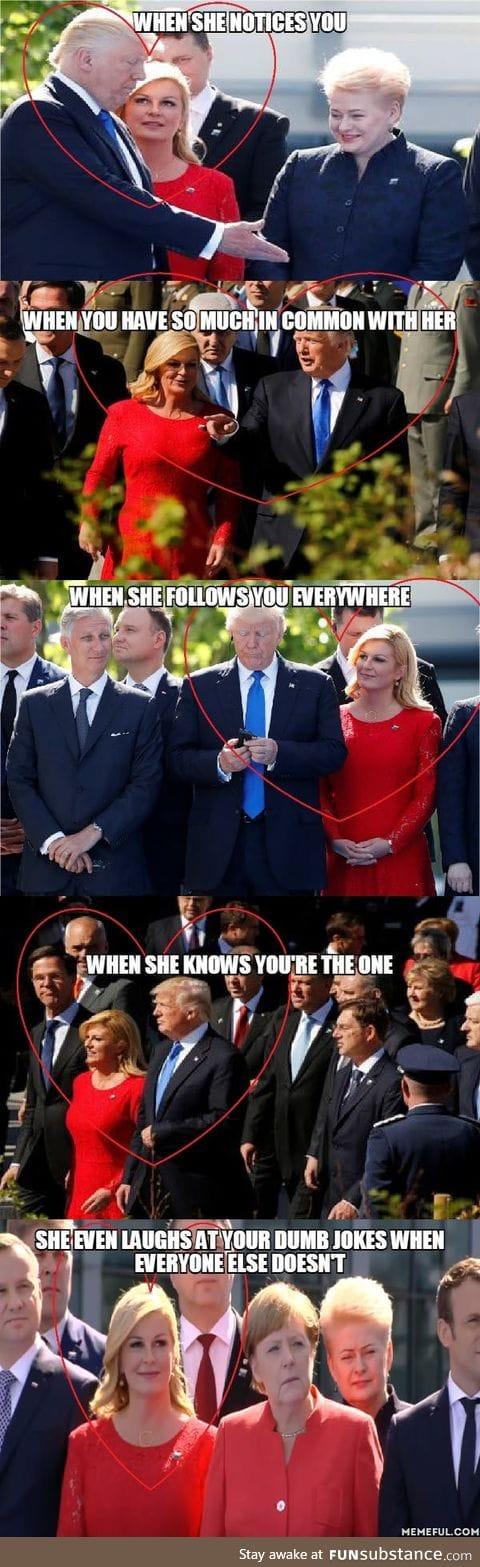 President of Croatia, admiring Trump