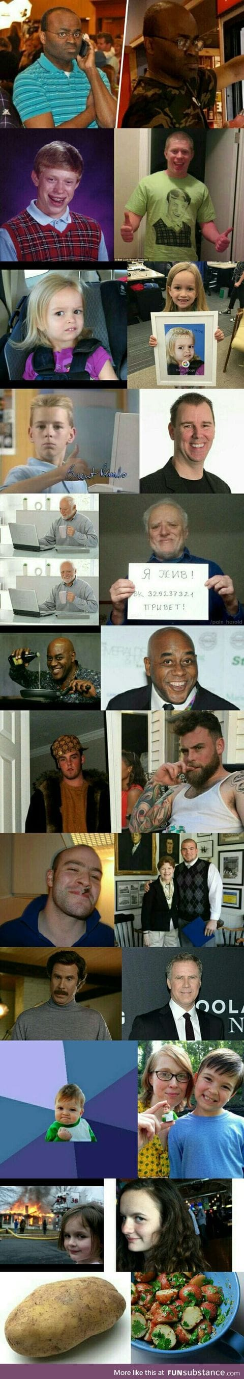 Here are the faces of some famous memes then and now