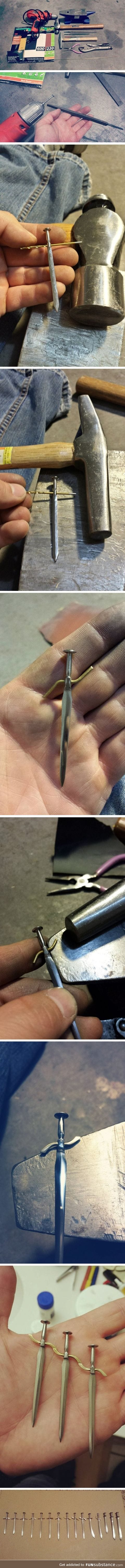 Tiny swords forged from nails