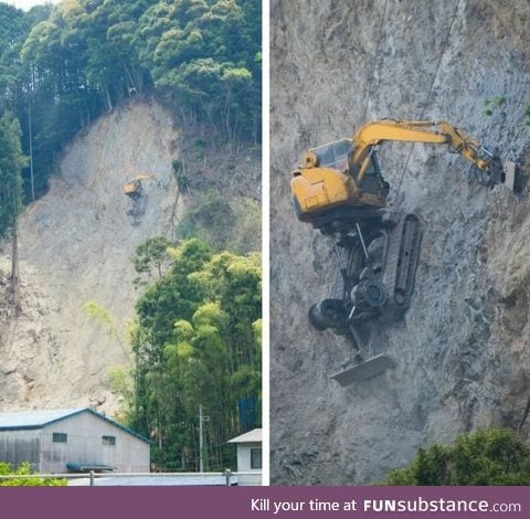 How diggers work on a mountain