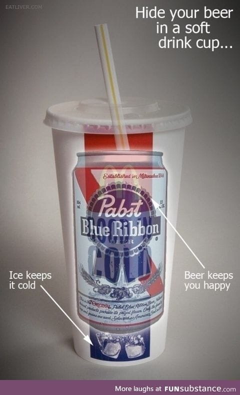 Hide your beer in a cup