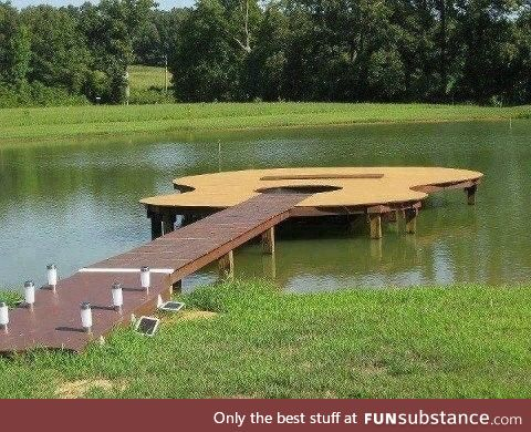 This dock is shaped like a guitar