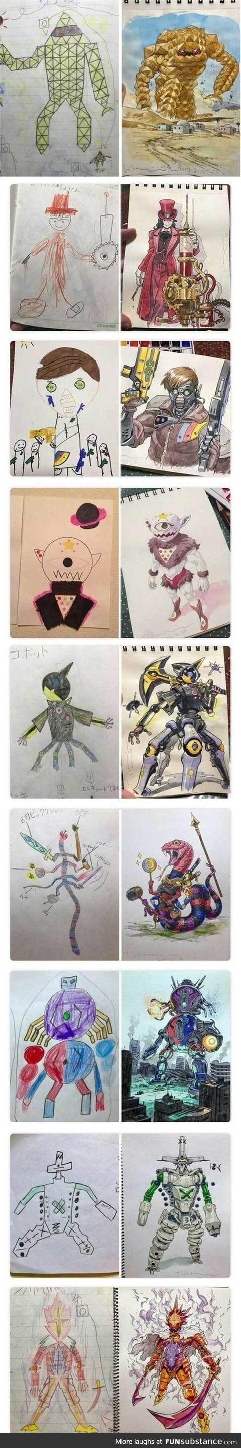 Designer dad recreates son drawings