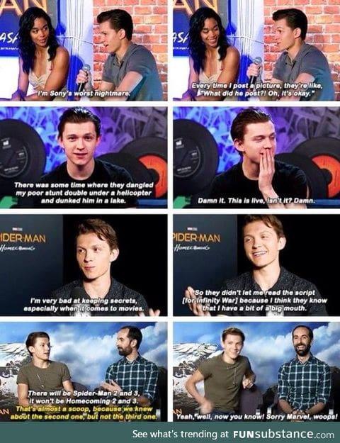 Spider-Man can't keep secrets
