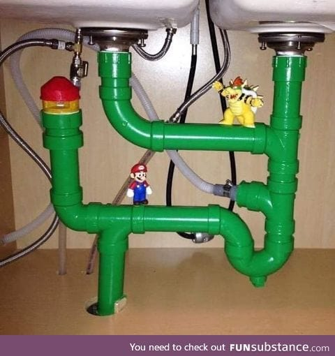 Mario VS Bowser, under the sink