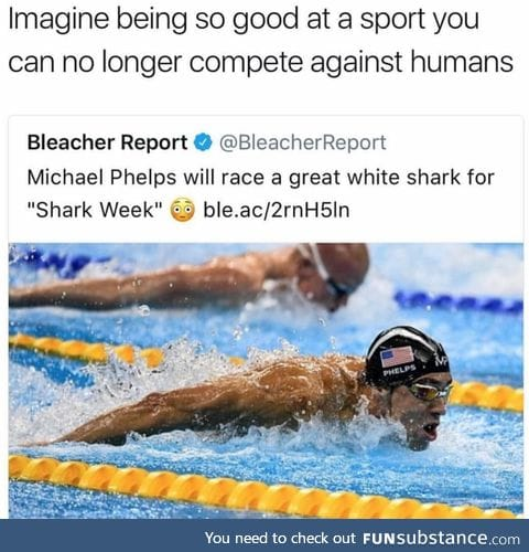 Only a fish can beat Michael Phelps