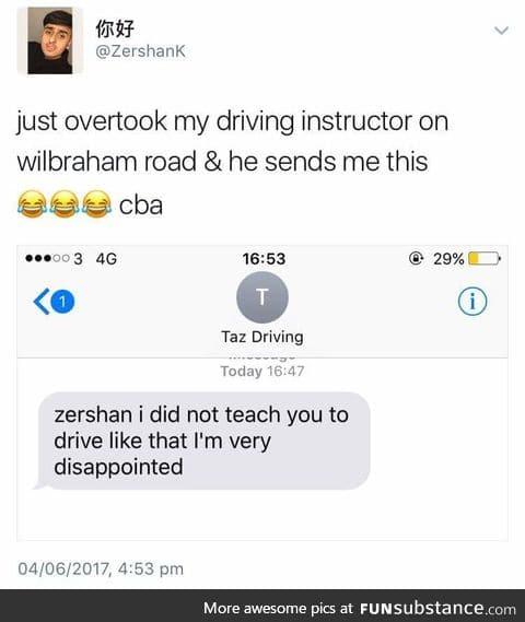 Not a happy driving instructor