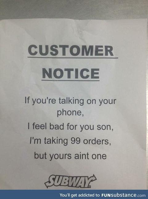 This subway customer notice